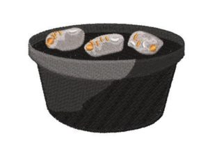 Dutch Oven Filled with Glowing Charcoal Kitchen & Cooking Embroidery Design By Embroidery Designs
