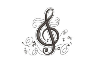 Music Symbol Music Embroidery Design By Embroiderypacks