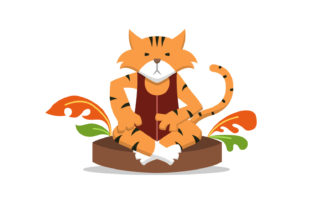 Cute Tiger Character Relaxing Grafik Illustrationen von Role Graphic