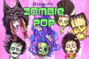 Watercolor Zombie Pop Illustrations Set Graphic Illustrations By Dapper Dudell 1