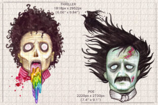 Watercolor Zombie Pop Illustrations Set Graphic Illustrations By Dapper Dudell 3