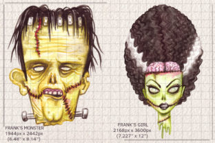 Watercolor Zombie Pop Illustrations Set Graphic Illustrations By Dapper Dudell 4