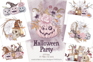 Print on Demand: Halloween Cards Pumpkins Fall Flowers Graphic Illustrations By PawStudio 1