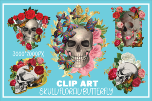 Print on Demand: 5 Skull/Floral/Butterfly Sublimation PNG Graphic Crafts By KtwoP