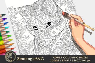 Floral Fox Adult Coloring Page - 1