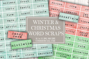 Print on Demand: Winter and Christmas Word Scraps Graphic Objects By Digital Attic Studio
