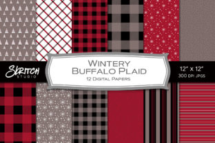 Wintery Buffalo Plaid Red and Gray Set Graphic Backgrounds By skritchstudio
