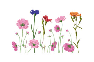 Print on Demand: Beautiful Wildflowers Border Borders Embroidery Design By EmbArt 1