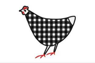 Farmer's Black and White Chicken Farm & Country Embroidery Design By ArtDigitalEmbroidery
