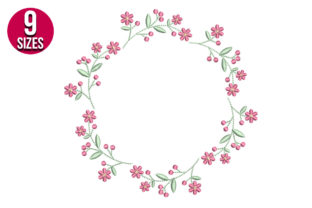 Print on Demand: Flower Border Floral Wreaths Embroidery Design By nationsembroidery