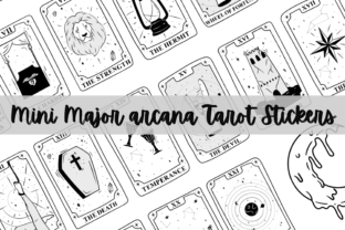 Print on Demand: Mini Black and White Tarot Card Stickers Graphic Print Templates By PoshPrintsByBee