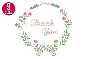 Print on Demand: Thank You Floral Wreath Holidays & Celebrations Embroidery Design By Nations Embroidery