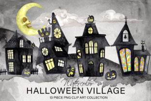 Watercolor Halloween Village Collection Graphic Illustrations By Dapper Dudell