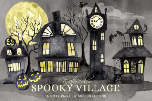 Watercolor Spooky Village Ghost Town Set Graphic Illustrations By Dapper Dudell