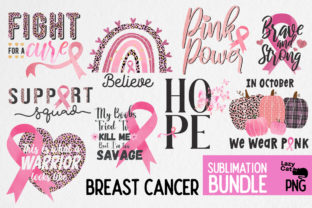 Breast Cancer  Sublimation Bundle Graphic Print Templates By Lazy Cat