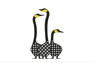 Farm Black and White Geese Farm & Country Embroidery Design By ArtDigitalEmbroidery