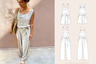 Long Jumpsuit Overall Dungarees Sewing Pattern Graphic Sewing Patterns By Make It Yours - The Label