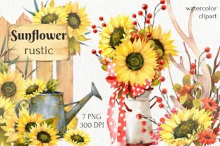 Print on Demand: Watercolor Fall Sunflower, Rustic PNG Graphic Illustrations By CherrypearStudio 1