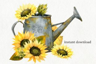 Print on Demand: Watercolor Fall Sunflower, Rustic PNG Graphic Illustrations By CherrypearStudio 10