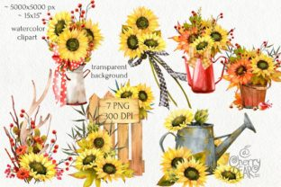Print on Demand: Watercolor Fall Sunflower, Rustic PNG Graphic Illustrations By CherrypearStudio 2