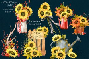 Print on Demand: Watercolor Fall Sunflower, Rustic PNG Graphic Illustrations By CherrypearStudio 3