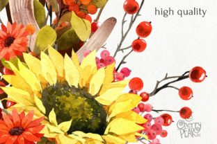 Print on Demand: Watercolor Fall Sunflower, Rustic PNG Graphic Illustrations By CherrypearStudio 4