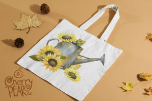 Print on Demand: Watercolor Fall Sunflower, Rustic PNG Graphic Illustrations By CherrypearStudio 5