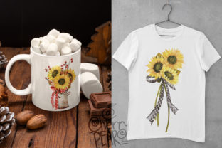 Print on Demand: Watercolor Fall Sunflower, Rustic PNG Graphic Illustrations By CherrypearStudio 6