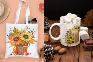 Print on Demand: Watercolor Fall Sunflower, Rustic PNG Graphic Illustrations By CherrypearStudio 7