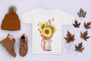 Print on Demand: Watercolor Fall Sunflower, Rustic PNG Graphic Illustrations By CherrypearStudio 8