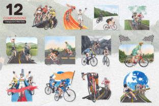 Bicycle Riding Watercolor - 2