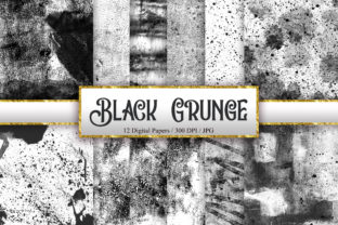 Print on Demand: Black Grunge Texture Digital Papers Graphic Backgrounds By PinkPearly