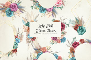 Print on Demand: Boho Floral Frames Clipart Graphic Illustrations By Digital Curio