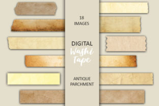Print on Demand: Digital Antique Parchment Washi Tape Graphic Objects By Digital Attic Studio