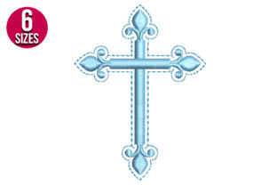 Print on Demand: Fancy Cross Religion & Faith Embroidery Design By Nations Embroidery