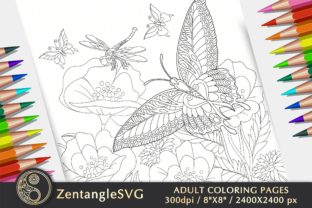 Floral Butterfly Adult Coloring Page Graphic Coloring Pages & Books Adults By ZentangleSVG