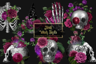 Print on Demand: Floral Witch Skulls Graphic Illustrations By Digital Curio 1