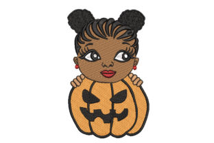 Halloween African Girl Boys & Girls Embroidery Design By Canada Crafts Studio