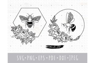 Honey BEE and Floral Peony Frame SVG Set Graphic Illustrations By MySpaceGarden