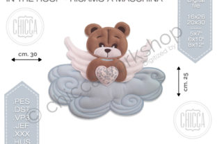 ITH Angel Cot Mobile Teddy Bears Embroidery Design By CHICCAWORKSHOPSTORE