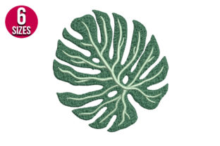 Print on Demand: Monstera Leaf Single Flowers & Plants Embroidery Design By nationsembroidery
