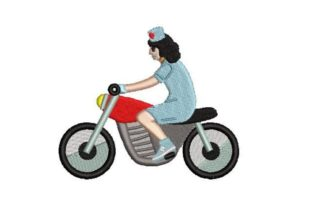 Nurse Riding a Motorcycle Work & Occupation Embroidery Design By Embroidery Designs