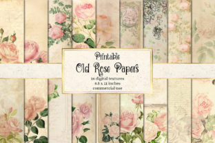 Print on Demand: Printable Old Rose Digital Paper Graphic Textures By Digital Curio