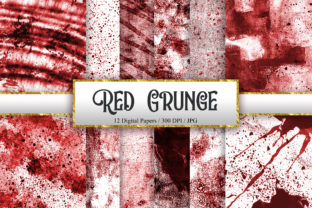 Print on Demand: Red Grunge Texture Digital Papers Graphic Backgrounds By PinkPearly