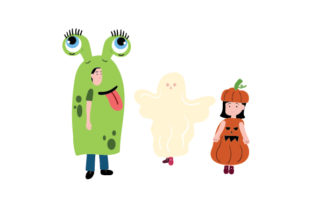 Children Dressed in Halloween Costumes Halloween Craft Cut File By Creative Fabrica Crafts