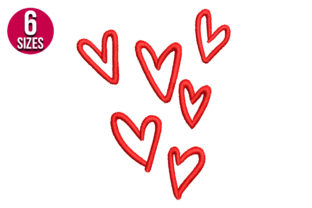 Print on Demand: Hearts Valentine's Day Embroidery Design By Nations Embroidery