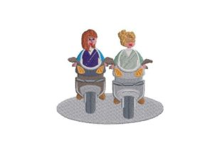 Nurses Riding Motorcycles Work & Occupation Embroidery Design By Embroidery Designs
