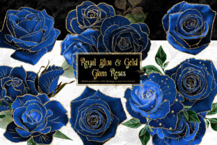 Print on Demand: Royal Blue and Gold Glam Roses Graphic Illustrations By Digital Curio