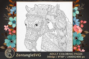 Woman and Horse Adult Coloring Page Graphic Coloring Pages & Books Adults By ZentangleSVG