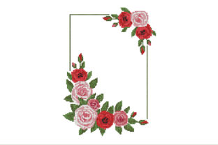 Announcement of a Wedding with Roses Graphic Cross Stitch Patterns By ArtDigitalEmbroidery